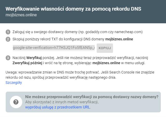 Weryfikacja domeny w Google Search Console za pomocą rekordu TXT