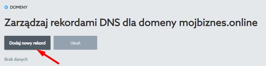 Dodaj nowy rekod dns w panelu domeny