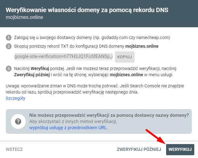 Weryfikacja domeny w Google Search Console po dodaniu rekordu TXT