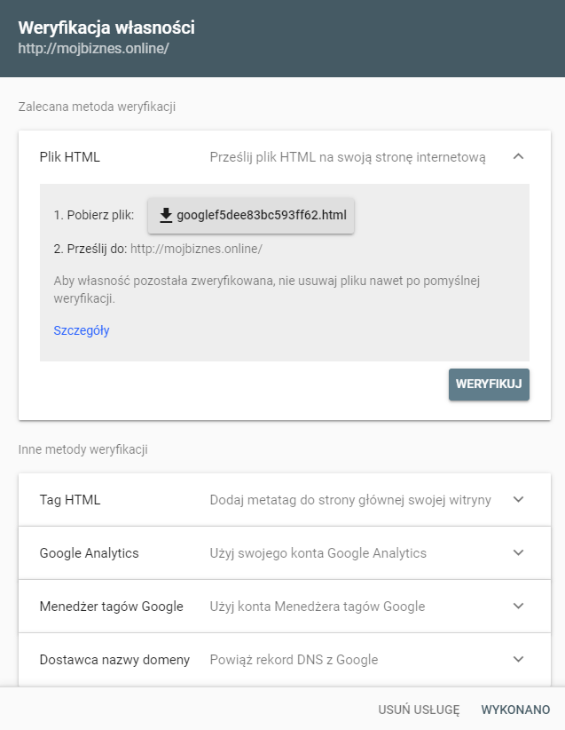 Google Search Console opcje weryfikacji url prefiksu domeny