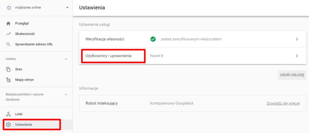 Google Search Console - nadawanie uprawnień nowym użytkownikom