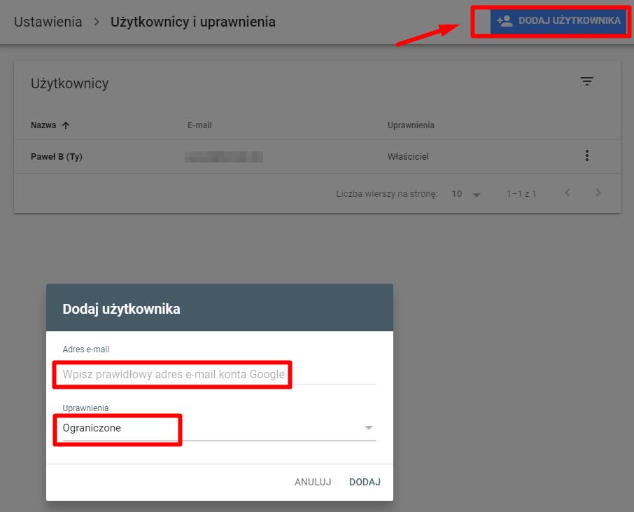 Dodawanie adresu e-mail i uprawnień do Google Search Console