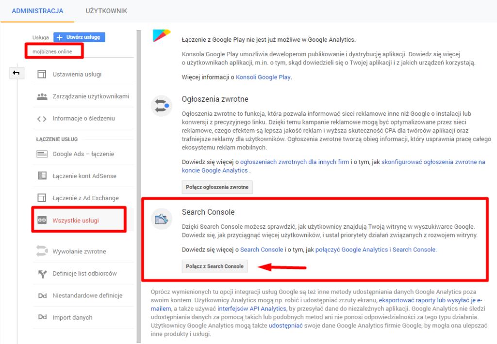 Łączenie Google Search Console z Google Analytics