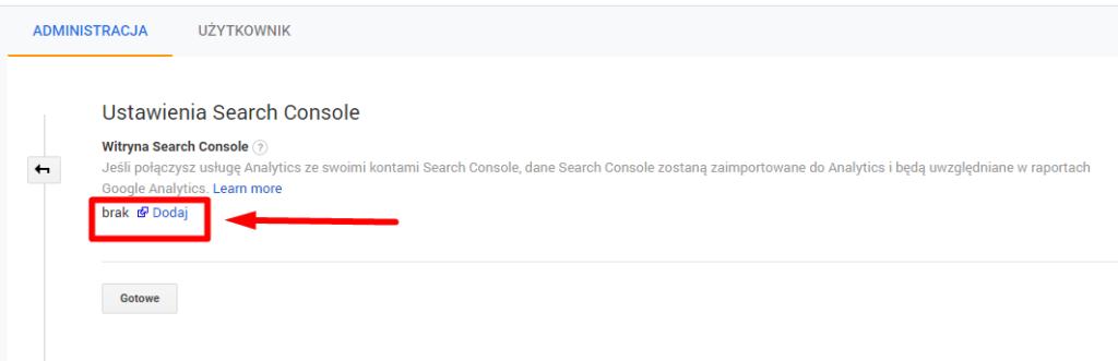 Dodawanie konta Google Search COnsole do Google Analytics