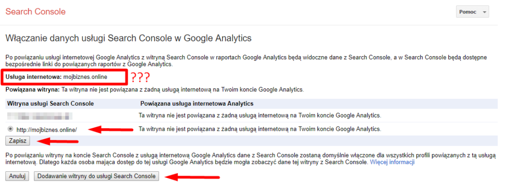 Wybór usługi Google Search Console w panelu Google Analytics