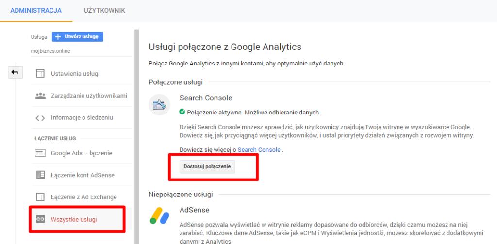 Gostosowywanie połączenia Google Search Console w Google Analytics