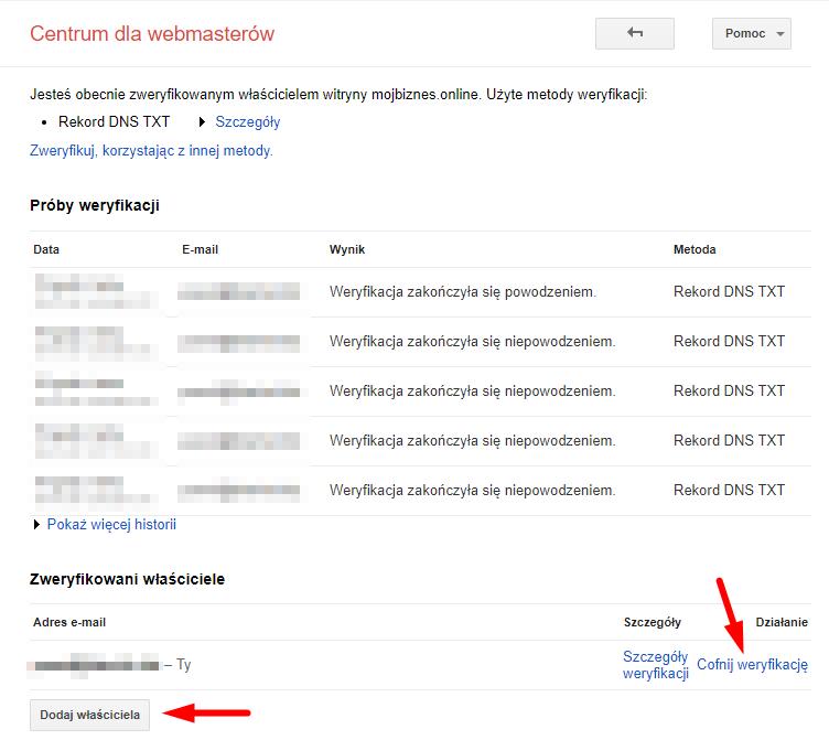 Google Sesarch Console cofanie weryfikacji właściciela lub dodawanie włąściciela