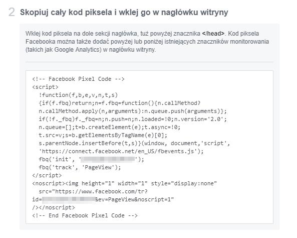 Kopiowanie kodu piksela facebooka