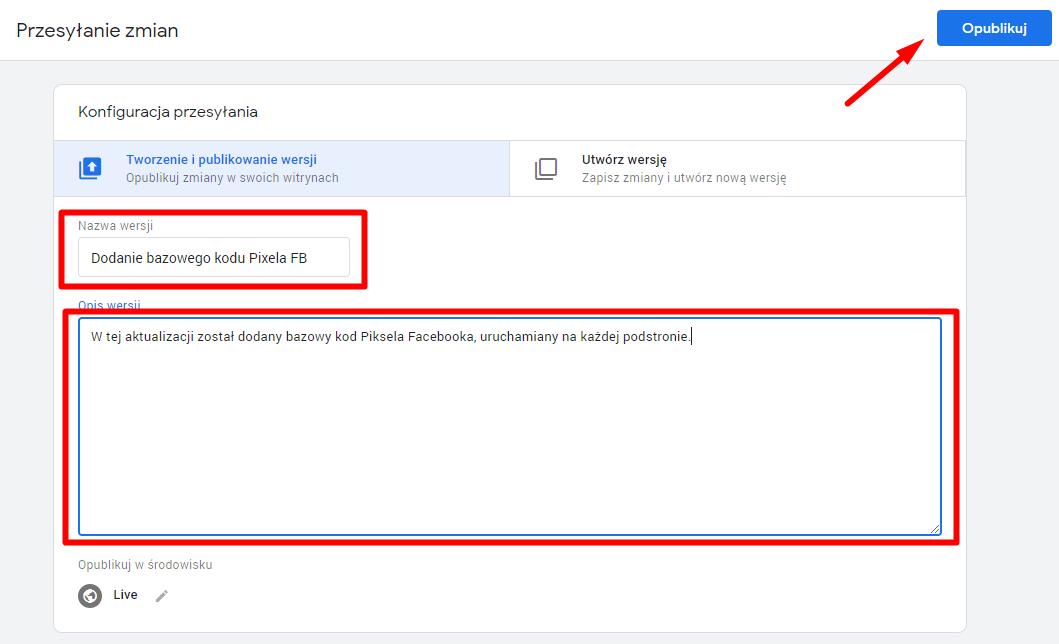 Pixel Facebooka menadżer tagów publikacja zmian