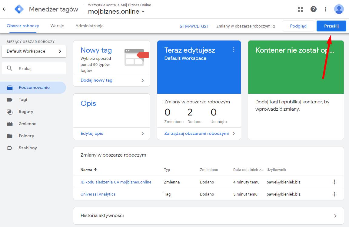 Publikacja zmian konterera w menadżerze tagów Google