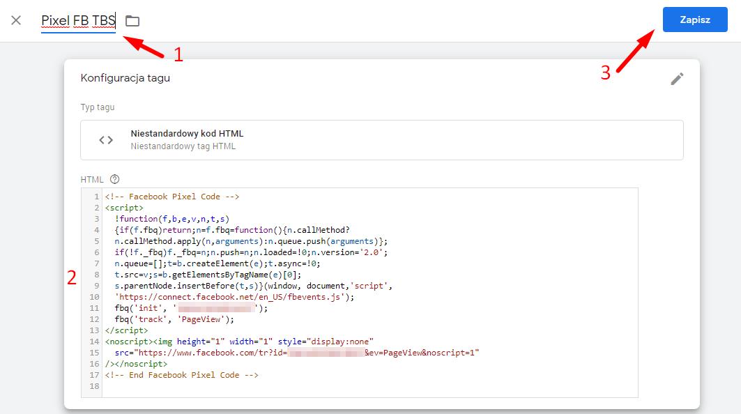 Wklejanie kodu pixela Facebooka do menadżera tagów Google