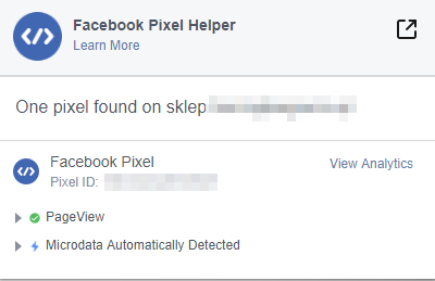 Wtyczka Facebook Pixel Helper testowanie instalacji kodu